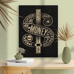 Quadro retro dólar Moldura Madeira de Reflorestamento - Fundo em Madeira 100% MDF 3mm  Impressão Digital Quadro de Moldura Com Vidro Com Ou Sem Moldura Vinil Texturizado