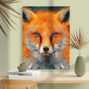 Quadro rosto de raposa vermelha Moldura Madeira de Reflorestamento - Fundo em Madeira 100% MDF 3mm  Impressão Digital Quadro de Moldura Com Vidro Com Ou Sem Moldura Vinil Texturizado