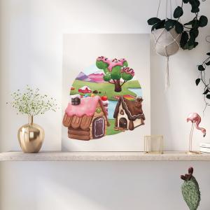 Quadro Sweet Candy Land mod.1 Moldura Madeira de Reflorestamento - Fundo em Madeira 100% MDF 3mm  Impressão Digital Quadro de Moldura Com Vidro Com Ou Sem Moldura Vinil Texturizado