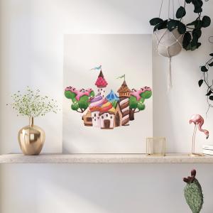 Quadro Sweet Candy Land mod.2 Moldura Madeira de Reflorestamento - Fundo em Madeira 100% MDF 3mm  Impressão Digital Quadro de Moldura Com Vidro Com Ou Sem Moldura Vinil Texturizado
