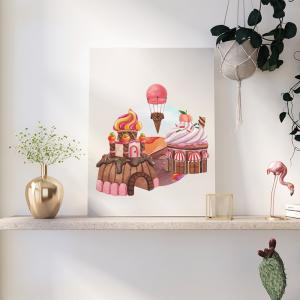 Quadro Sweet Candy Land mod.3 Moldura Madeira de Reflorestamento - Fundo em Madeira 100% MDF 3mm  Impressão Digital Quadro de Moldura Com Vidro Com Ou Sem Moldura Vinil Texturizado