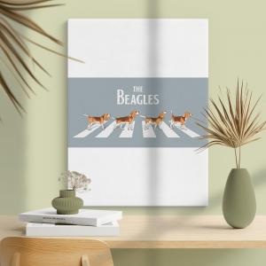 Quadro the beagles Moldura Madeira de Reflorestamento - Fundo em Madeira 100% MDF 3mm  Impressão Digital Quadro de Moldura Com Vidro Com Ou Sem Moldura Vinil Texturizado