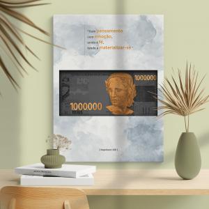 Quadro Um Milhão Moldura Madeira de Reflorestamento - Fundo em Madeira 100% MDF 3mm  Impressão Digital Quadro de Moldura Com Vidro Com Ou Sem Moldura Vinil Texturizado