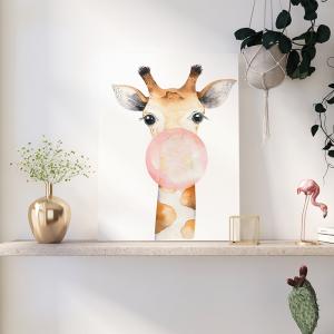Quadro Um pôster moderno de Girafa Moldura Madeira de Reflorestamento - Fundo em Madeira 100% MDF 3mm  Impressão Digital Quadro de Moldura Com Vidro Com Ou Sem Moldura Vinil Texturizado