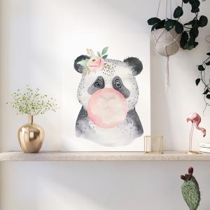 Quadro Um pôster moderno de Panda Moldura Madeira de Reflorestamento - Fundo em Madeira 100% MDF 3mm  Impressão Digital Quadro de Moldura Com Vidro Com Ou Sem Moldura Vinil Texturizado