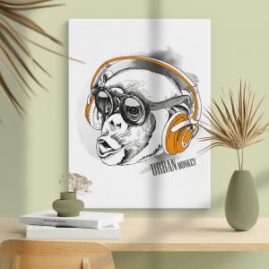 Quadro urban monkey Moldura Madeira de Reflorestamento - Fundo em Madeira 100% MDF 3mm  Impressão Digital Quadro de Moldura Com Vidro Com Ou Sem Moldura Vinil Texturizado
