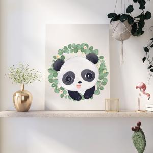 Quadro Wild Animals Panda mod.1 Moldura Madeira de Reflorestamento - Fundo em Madeira 100% MDF 3mm  Impressão Digital Quadro de Moldura Com Vidro Com Ou Sem Moldura Vinil Texturizado