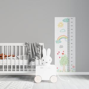 Régua de Crescimento Infantil - Desenho de Crianças Vinil 0,010mm - Autocolante Sob medida Impressão Digital Fosco - Liso Tamanho de 155cm por 55cm Todas as Imagens são MERAMENTE ILUSTRATIVAS.