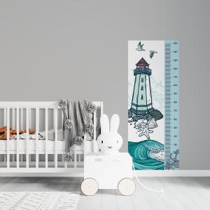 Régua de Crescimento Infantil - Farol Vinil 0,010mm - Autocolante Sob medida Impressão Digital Fosco - Liso Tamanho de 155cm por 55cm Todas as Imagens são MERAMENTE ILUSTRATIVAS.