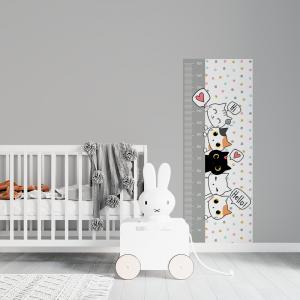 Régua de Crescimento Infantil - Gato Hello Vinil 0,010mm - Autocolante Sob medida Impressão Digital Fosco - Liso Tamanho de 155cm por 55cm Todas as Imagens são MERAMENTE ILUSTRATIVAS.