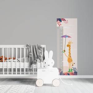 Régua de Crescimento Infantil - Girafa Vinil 0,010mm - Autocolante Sob medida Impressão Digital Fosco - Liso Tamanho de 155cm por 55cm Todas as Imagens são MERAMENTE ILUSTRATIVAS.
