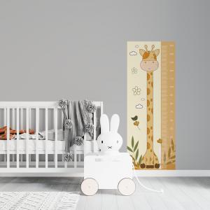 Régua de Crescimento Infantil -Giraffa Vinil 0,010mm - Autocolante Sob medida Impressão Digital Fosco - Liso Tamanho de 155cm por 55cm Todas as Imagens são MERAMENTE ILUSTRATIVAS.
