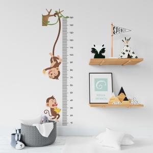 Régua de Crescimento Infantil - Macacos Vinil 0,010mm - Autocolante Sob medida Impressão Digital Fosco - Liso Tamanho de 155cm por 55cm Todas as Imagens são MERAMENTE ILUSTRATIVAS.
