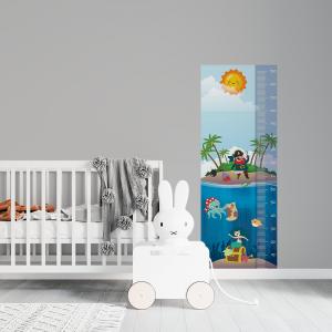 Régua de Crescimento Infantil - Piratas Vinil 0,010mm - Autocolante Sob medida Impressão Digital Fosco - Liso Tamanho de 155cm por 55cm Todas as Imagens são MERAMENTE ILUSTRATIVAS.