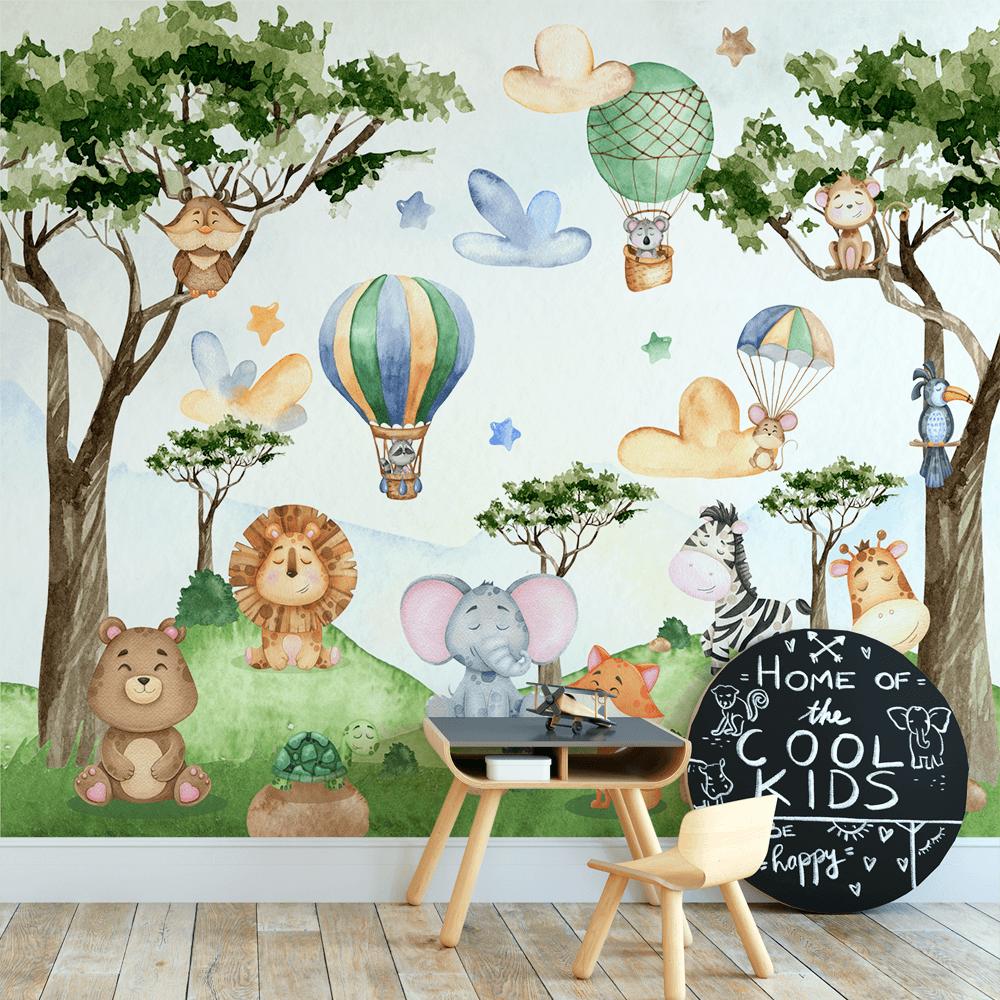 Papel De Parede - animais em aquarela da floresta