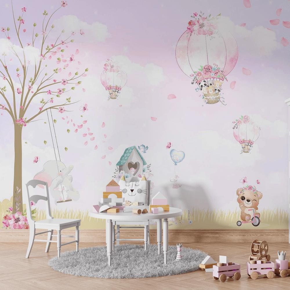 Papel De Parede - Balões e os Animais Rosa