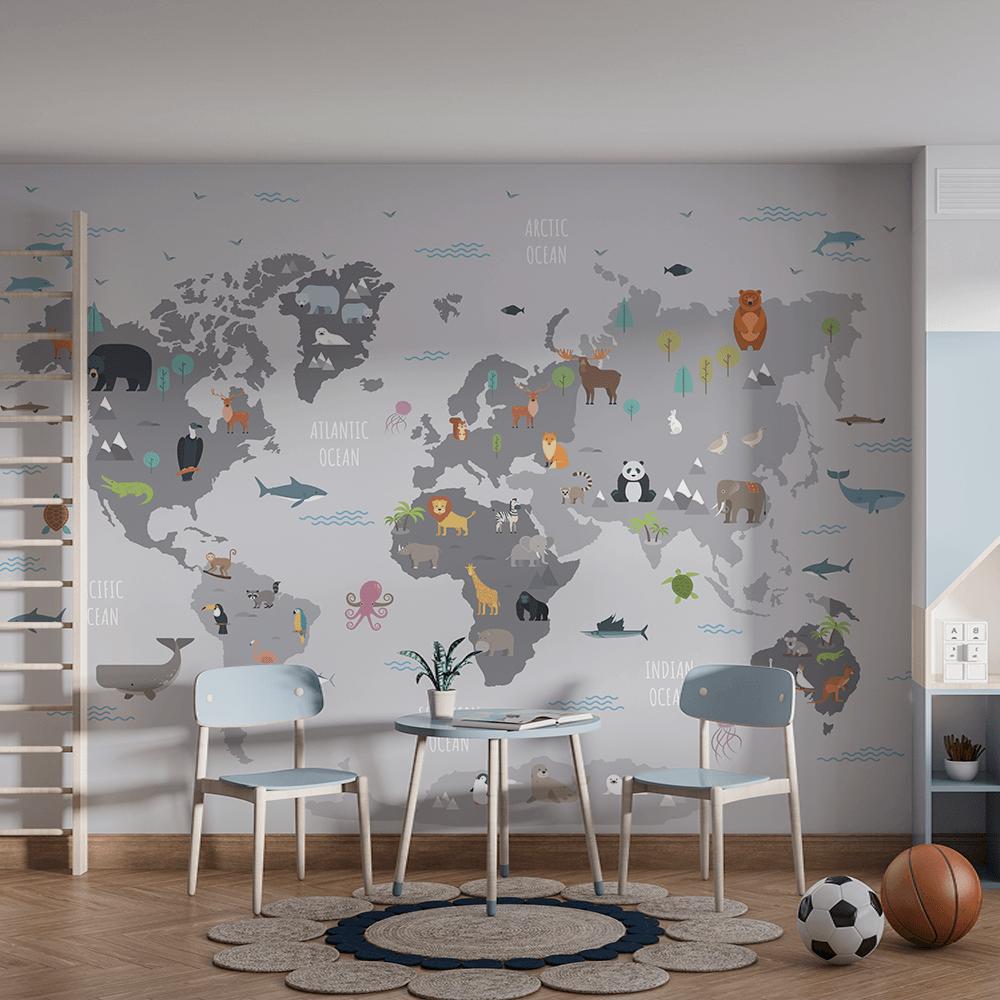 Papel De Parede - Mapa do mundo com animais selvagens