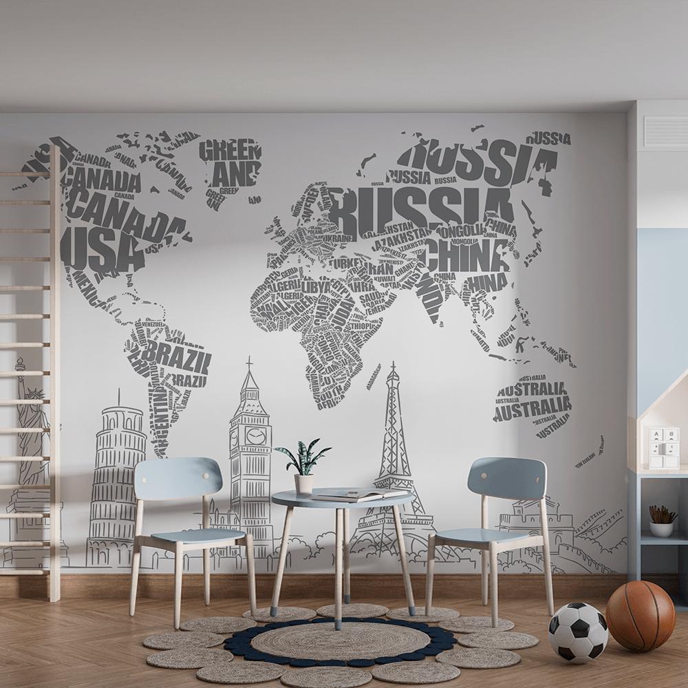 Papel De Parede - Mapa do Mundo em Tipografia