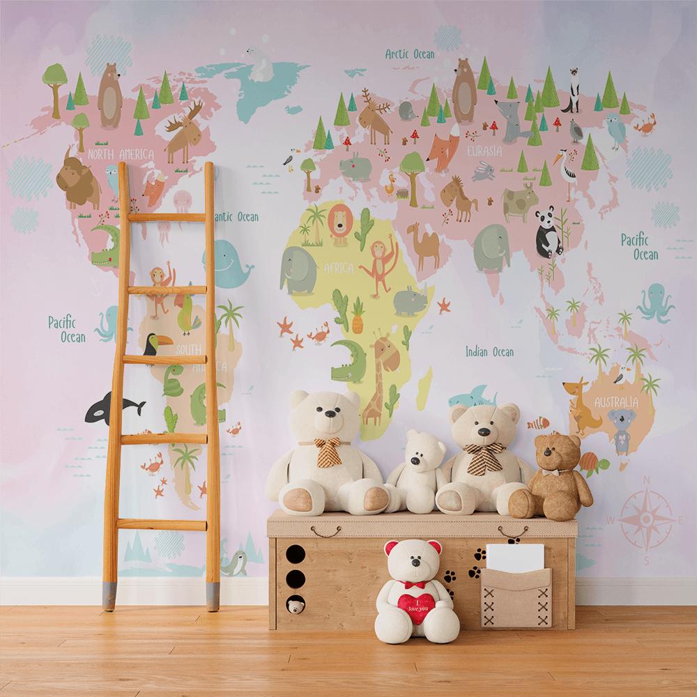 Papel De Parede - Mapa vetorial do mundo com animais