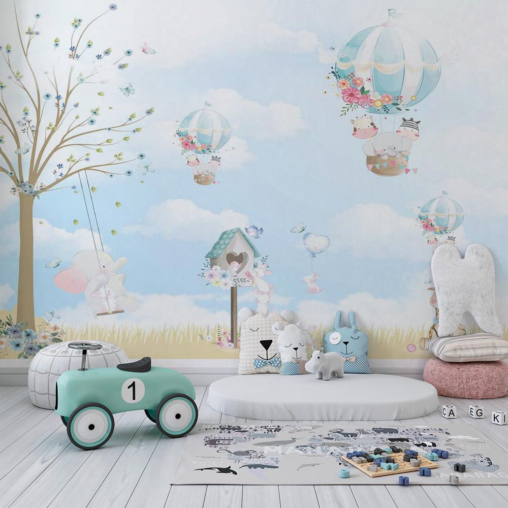 Papel De Parede - Balões e os Animais Azul