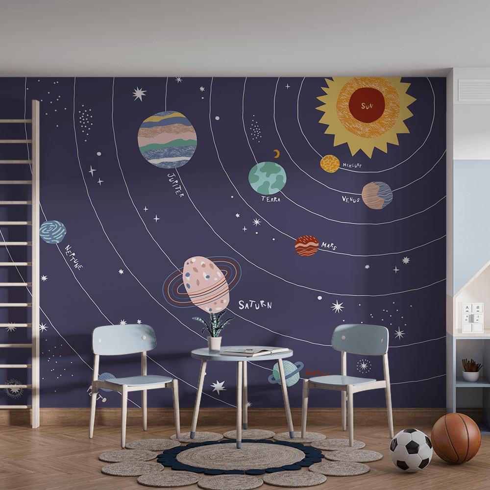 Papel De Parede - sistema solar isolada no fundo azul